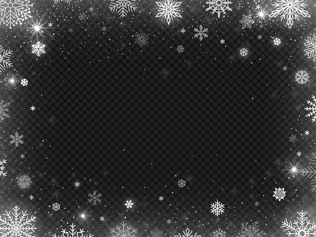 Sfondo cornice bordo nevicato. neve per le vacanze di natale, chiari fiocchi di neve con brina