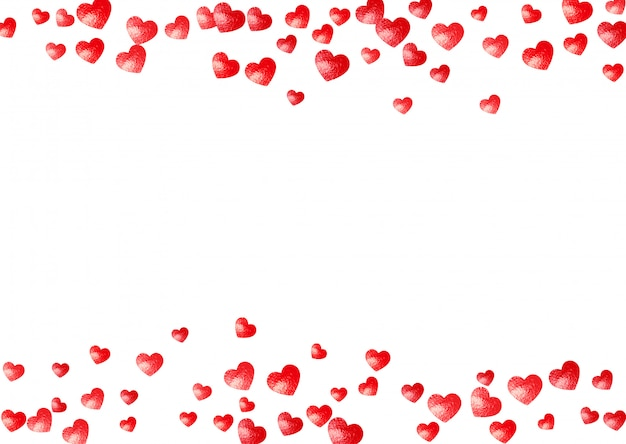 Sfondo cornice cuore con cuori glitter oro. san valentino. coriandoli vettoriali. trama disegnata a mano.
