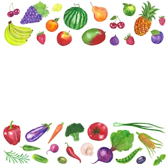 Sfondo cornice di frutta e verdura
