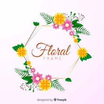 Sfondo cornice dorata e floreale