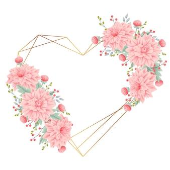 Sfondo cornice floreale con fiore Dalia