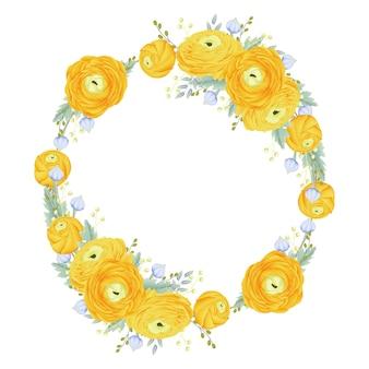 Sfondo cornice floreale con fiore di ranuncolo