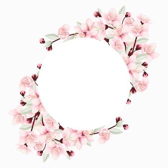 Sfondo cornice floreale con fiori di ciliegio