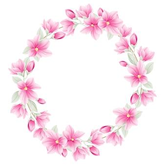 Sfondo cornice floreale con fiori di magnolia