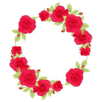 Sfondo cornice floreale con rose rosse