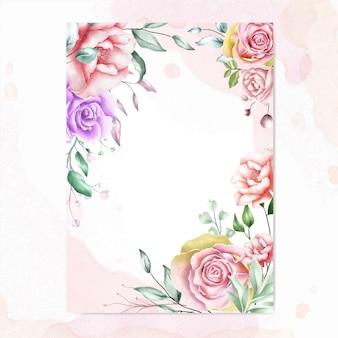 Sfondo cornice floreale dell'acquerello