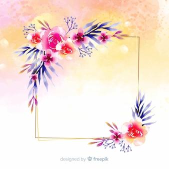 Sfondo cornice floreale floreale dell'acquerello