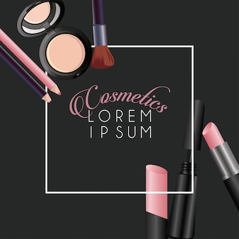 Sfondo cornice quadrata cosmetici make-up