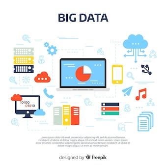 Sfondo creativo di big data piatta