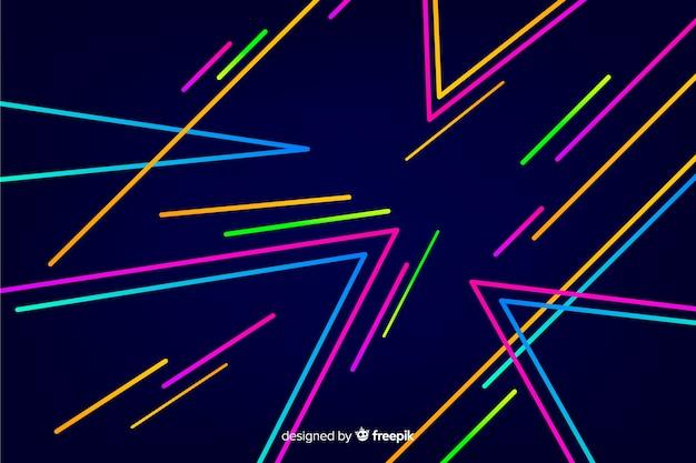 Sfondo decorativo di forme geometriche al neon