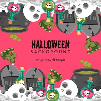 Sfondo decorativo di halloween con teschi