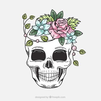 Sfondo decorativo di teschi con i fiori