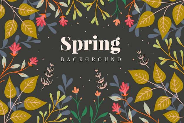 Sfondo decorativo primavera con foglie