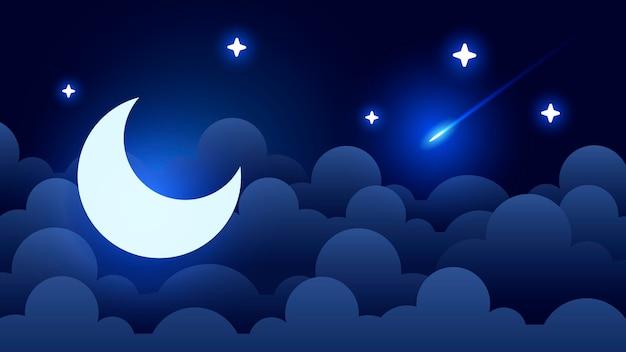 Sfondo del cielo notturno mistico con mezza luna, nuvole e stelle. notte al chiaro di luna.