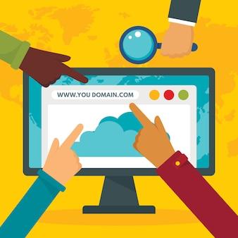 Sfondo del concetto di dominio http, stile piano