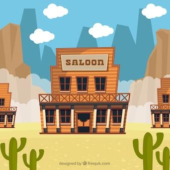 Sfondo del deserto con il saloon di design piatto