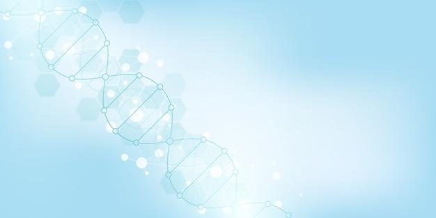 Sfondo del filamento di dna e ingegneria genetica o ricerca di laboratorio. tecnologia medica e concetto di scienza.