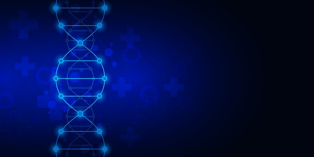 Sfondo del filamento di dna e ingegneria genetica o ricerca di laboratorio