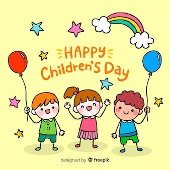 Sfondo del giorno dei bambini con arcobaleno