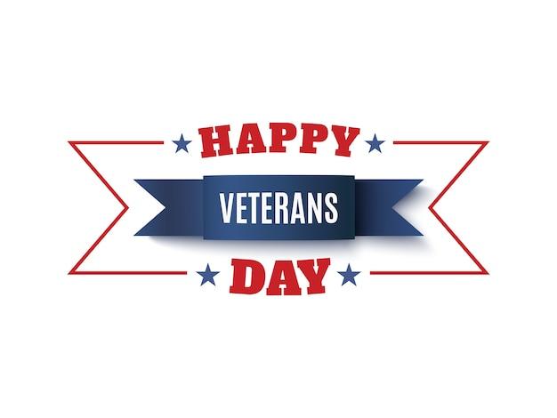 Sfondo del giorno dei veterani. nastro blu su bianco. biglietto di auguri, brochure o poster modello. illustrazione.