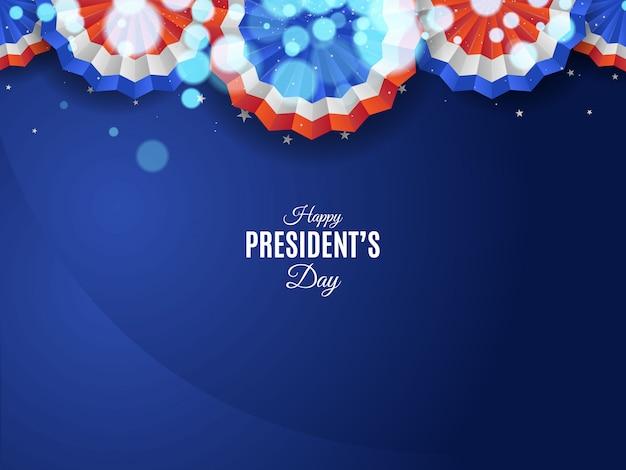 Sfondo del giorno del presidente usa con ornamenti e luci sfocate
