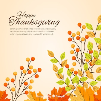 Sfondo del giorno del ringraziamento in design piatto con elementi autunnali