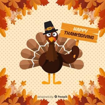 Sfondo del giorno del ringraziamento in design piatto con la turchia