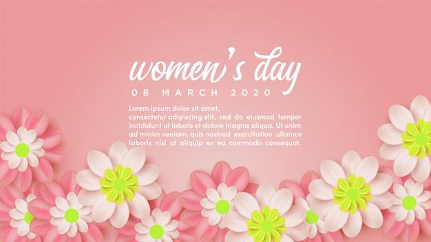 Sfondo del giorno delle donne con illustrazioni di fiori e parole bianche.