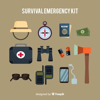 Sfondo del kit di emergenza di sopravvivenza