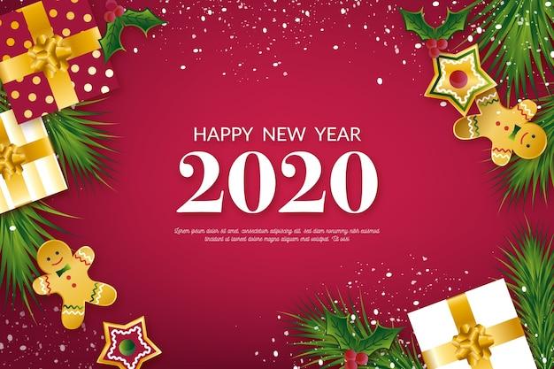 Sfondo del nuovo anno 2020 con realistica decorazione dorata