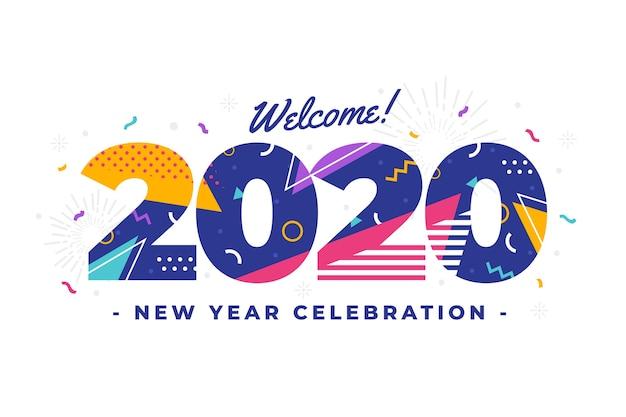 Sfondo del nuovo anno 2020 in design piatto