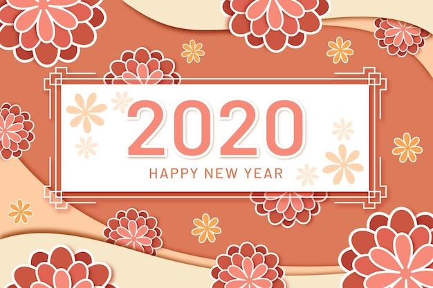 Sfondo del nuovo anno 2020 in stile carta