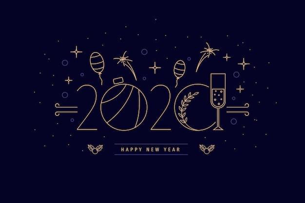 Sfondo del nuovo anno 2020 in stile contorno