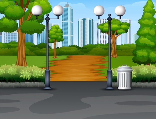 Sfondo del parco città con sentiero e lanterna