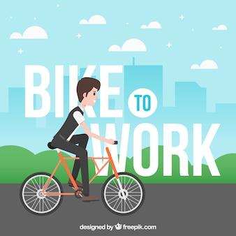 Sfondo del ragazzo sulla bicicletta al lavoro