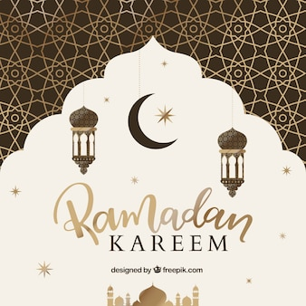 Sfondo del ramadan con motivo dorato