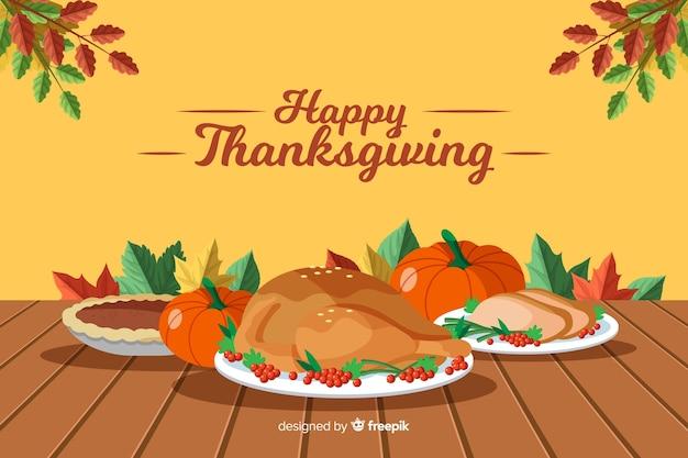 Sfondo del ringraziamento in design piatto