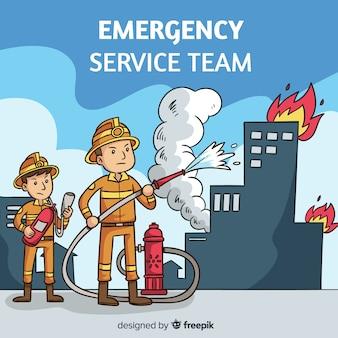 Sfondo del team di servizio di emergenza