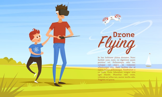 Sfondo del telecomando. concetto moderno di drone per carta e poster.
