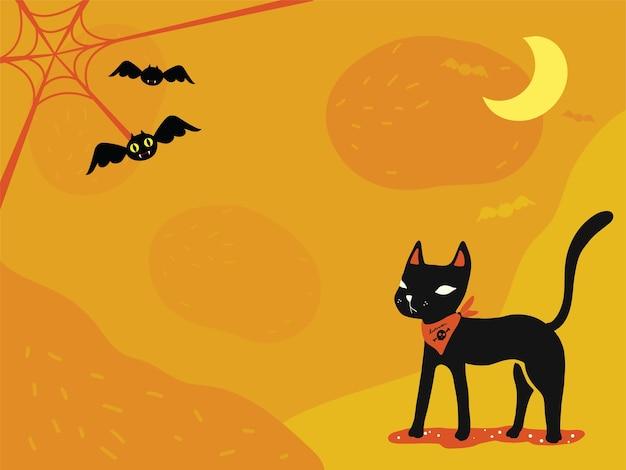 Sfondo del tema di halloween: gatto nero, ragnatela e simpatici pipistrelli