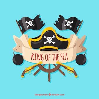 Sfondo del timone e del pirata con bandiere
