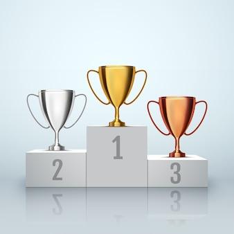 Sfondo del vincitore. primo luogo di competizione. podio con coppe trofeo