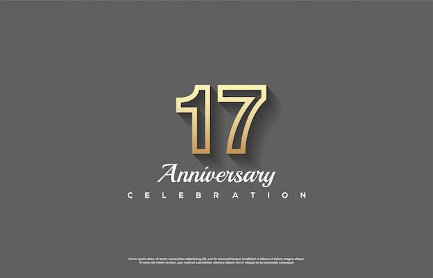 Sfondo della 17a celebrazione con numeri di linea d'oro.