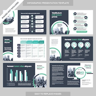 Sfondo della città presentazione della società di affari con il modello di infografica.