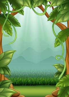 Sfondo della giungla con viti e montagne
