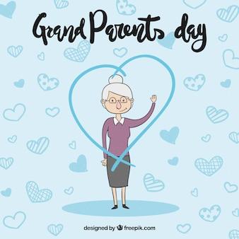 Sfondo della mano disegnata a granny con un cuore