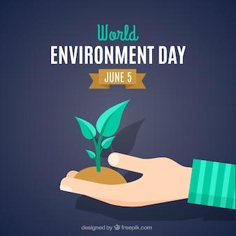 Sfondo della mano giornata ambientale con una pianta
