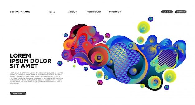 Sfondo della pagina di destinazione del sito web con liquido astratto