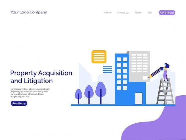 Sfondo della pagina di destinazione dell'acquisizione e del contenzioso di proprietà.