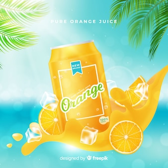 Sfondo della pubblicità di succo d'arancia